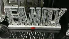 Crushed Crystal Diamond Silver FAMILY sign Ornament,home decor Shelf Sitter