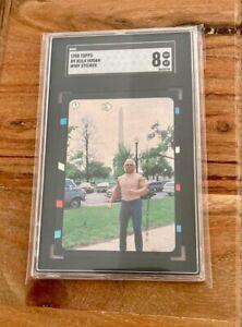 1985 SGC 8 Hulk Hogan Rookie Topps WWF #9 Sticker Rare