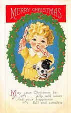 Christmas Postcard Baby Girl with Peppermint Candy Cane Stick Dog & Bone~114109