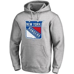 New York Rangers NHL Team Logo Hoodie Jumper - Grey