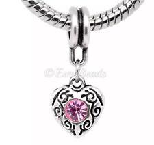 OCTOBER BIRTHSTONE_Pink Bead for Silver European Chain Charm Bracelet_Love_J101