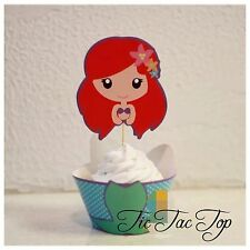 12x MERMAID Cupcake Toppers + Wrappers. Party Supplies Lolly  Bags