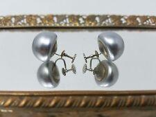 Vintage Signed Richelieu Screw Back Earrings Faux Pearl Silver Estate Costume