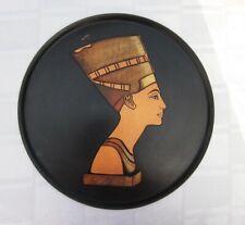 EGYPT QUEEN NEFERTITI HEAVY BRASS METAL TRAY MODERNIST COPPER INLAY 11 ¾ Vintage