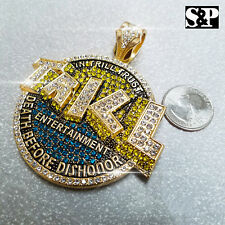 HIP HOP RAPPER'S ICED OUT LAB DIAMOND GOLD PLATED LARGE TRILL ENT. PENDANT