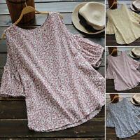 ZANZEA Women Summer Loose Cold Shoulder Top Tee T Shirt Pullover Floral Blouse