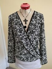 PORTMANS Black White Polka Dot BLOUSE TOP Size 10 BNWOT NEW Long Sleeves V-Neck