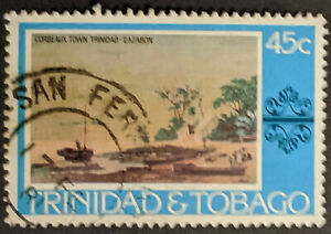 Stamp Trinidad and Tobago 1976 45c Painting Corbeaux Town Trinidad Cazabon Used