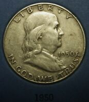 1950 Ben Franklin Silver Half Dollar Average Circulated Condition Great Price
