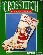 Bernat Counted Cross Stitch Christmas Stocking Kit Santa Milk and Cookies Aida