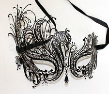 Black Laser Cut Filigree Side Phoenix Tail Mask Masquerade w/Rhinestones Party