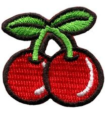 Cherry cherries retro gambling embroidered applique iron-on patch Small S-193