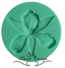 Flor de orquídea Flexible De Silicona Molde Molde Sugarcraft Cupcake Toppers Herramientas