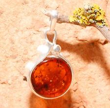Genuine Baltic Amber 925 Sterling Silver Pendant 3.2 g /0.11 oz Cognac