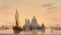 Oil painting Edward William Cooke Venezia.cityscape of Venice & church ship dusk