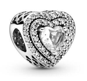 Genuine PANDORA Sparkling Levelled Hearts Charm Silver S925 ALE Bead 799218C01