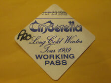 Cinderella - 1989 Long Cold Winter Tour - Working Pass Access - Backstage Pass