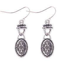 Cute New Tibetan Silver Oval Symbol BOHO Style Dangle Drop Earrings