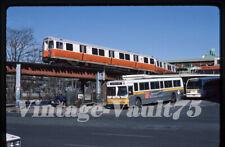 Orig Slide Mbta 01318 Boston Transit Subway Kodachrome 1987 Dudley El Bus Scene