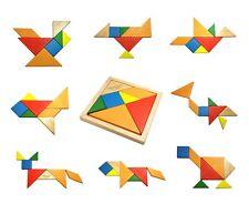 Wooden Intelligence Game Wood IQ Puzzle Jigsaw Tangram Creative Block 7 pc