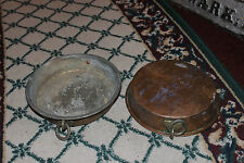 Antique Copper Fish Pan W/Tin Lining & Ring-Pair-Country Decor-Primitive-#3-LQQK