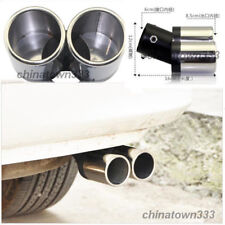 STAINLESS STEEL TWIN DUAL EXHAUST TRIM TIPS MUFFLER PIPE CHROME TAIL UP TO 60MM