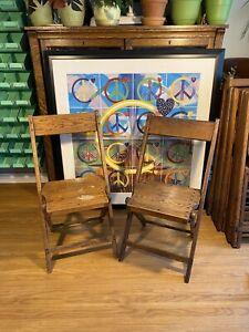 """Qty 2 ~ Vintage Wood Slat Folding Chairs ~ 36"""" x 16"""" x 1.5"""" Folded ~ Lot WCA"""