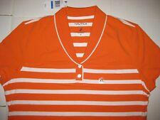 NWT NAUTICA WOMEN'S STRIPED SHORT SLEEVE POLO SHIRT orange/white Size S