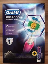 ORAL B PRO 2000 pink +3D WHITE TOOTHPASTE Rechargeable Toothbrush