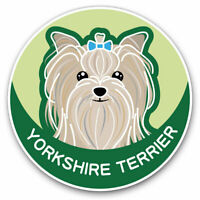 2 x Vinyl Stickers 7.5cm - Yorkshire Terrier Cartoon Dog Face Cool Gift #5987