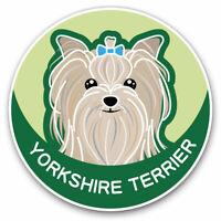2 x Vinyl Stickers 7.5cm - Yorkshire Terrier Cartoon Dog Face Cool Gift #5987