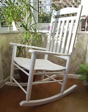 NEW WHITE WOOD TRADITIONAL FARMHOUSE ROCKING CHAIR CONSERVATORY BEDROOM NURSERY