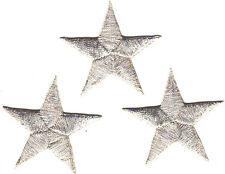 """STARS -SILVER METALLIC 1 5/8"""" Stars(3 Pc)-Iron On Embroidered Applique/Astrology"""