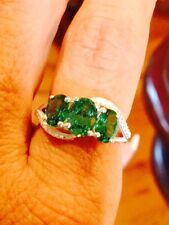 3.3 CT, GREEN CUBIC ZIRCONIA, 3 STONE RING, SET IN STERLING SILVER, SIZE  8