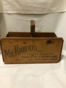 Vintage Advertising Wood Crate Box 2 Part Cut Out Carry Handle Porterville CA