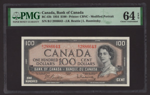Canada 🇨🇦1954 - $100 Note - Beatie|Coyne Sig. - PMG Choice UNC 64 EPQ