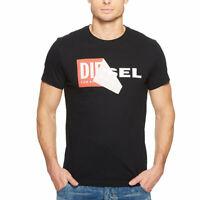 DIESEL T DIEGO QA Mens T-shirt Crew Neck Short Sleeve Casual Black Cotton Tee