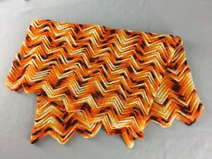 """Chevron Zigzag Crocheted Afghan Orange Variegated Fall Colors Lap Size 35"""" x 46"""""""