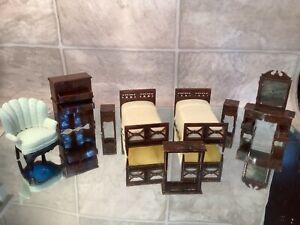 BEDROOM Vtg Dollhouse Furniture 2 Twin Beds Highboy Dressing Table Night Stand +
