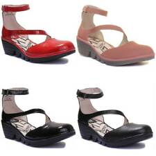 Fly London Plan717fly Women Red Patent Leather Sandals Black UK 6 - EU 39