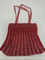 Red Cloth Beaded Magnet Snap Closure Handbag Purse Double Beaded Handle India