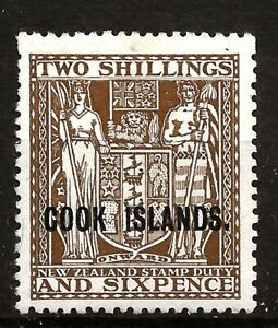 COOK ISLAND  (Z-513) 1946 SG131 (UP-WMK) 2/6d DULL BROWN VERY EXAMPLE MM / MH