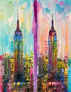 Dean Russo Art Original Artwork on Paper New York City NYC Empire State Building