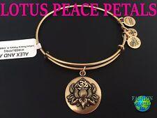 Alex and Ani LOTUS PEACE PETALS Gold Charm Bangle NewW/Tag,Card & Box