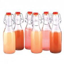 6 Pack Glass Reusable Oil Bottles Set - 6 Beverage Bottles Set w/ Airtight Lids