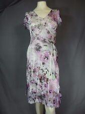 Komarov Dress Lace Cap Sleeve Multi Lace & Charmeuse A-Line Dress size Large