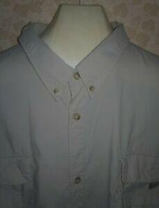 Columbia PFG khaki vented Long Sleeve Fishing Shirt Men's Size 4XL