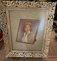 Vtg Mid Century Filigree Floral Goldtone Metal Photo Picture Frame 8x10 Original