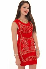 Ladies Celeb Inspired Sleeveless Studded Paisley Stretch Short Bodycon Dress