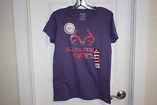 NEW Realtree Shirt Women's M Purple Short Sleeve T-Shirt Pink Camo Logo APC